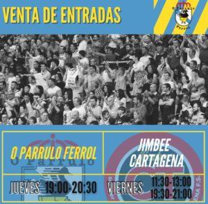 O Parrulo Ferrol habilita la venta de entradas para el Jimbee Cartagena y Ribeira FS