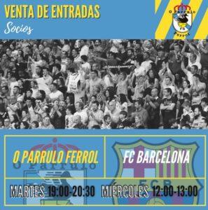 Venta anticipada de entradas para el O Parrulo Ferrol FS –  FC Barcelona